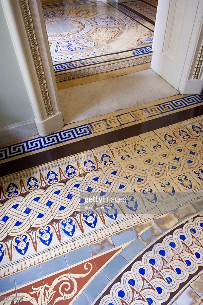 Detail Of The Minton Tile Floor In The Ohio Clock Corridor At The