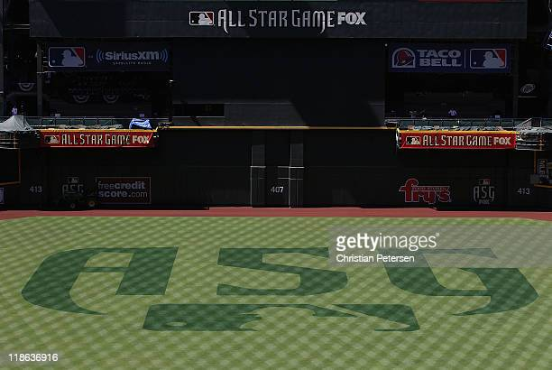 Detail of the MLB AllStar game logo on the field at Chase Field on July 9 2011 in Phoenix Arizona The 2011 MLB AllStar game will be held on July 12...