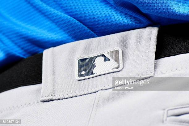 A detail of the MLB logo on a pair of pants during batting practice for the 88th MLB AllStar Game at Marlins Park on July 11 2017 in Miami Florida