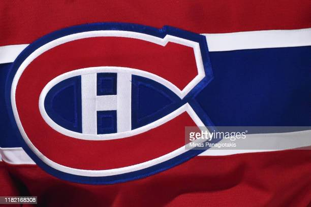 A detail of the Montreal Canadiens logo is seen during the first period against the Minnesota Wild at the Bell Centre on October 17 2019 in Montreal...