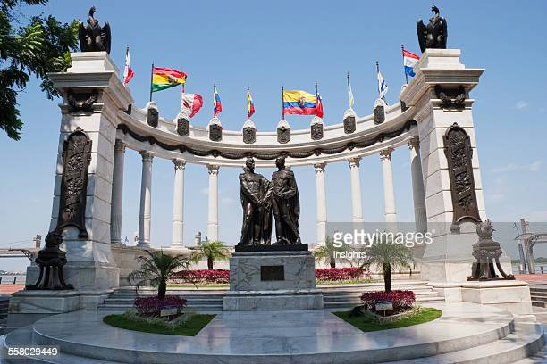 Detail Of The Monument Depicting The Meeting Between Simon Bolivar And Jose De San Martin Guayaquil Guayas Ecuador