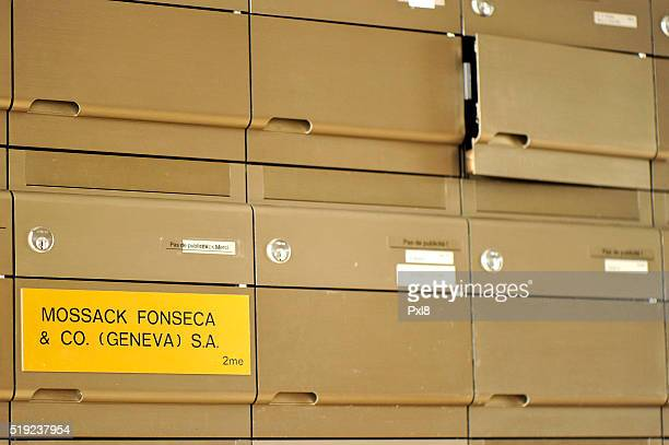 A detail of the Mossack Fonseca Geneva office mailbox on April 5 2016 in Geneva Switzerland 115m files anonymously leaked from the database of the...