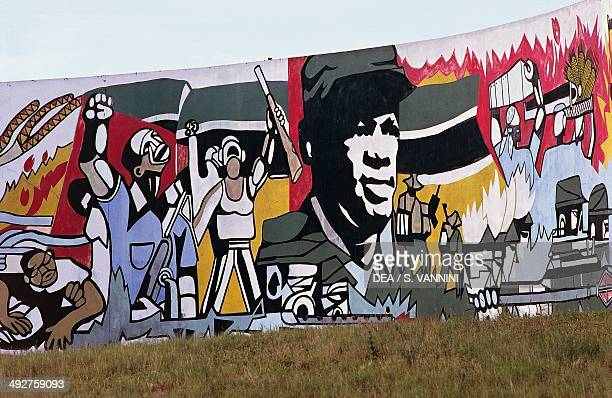 Detail of the mural depicting Civil War near airport of Maputo Mozambique
