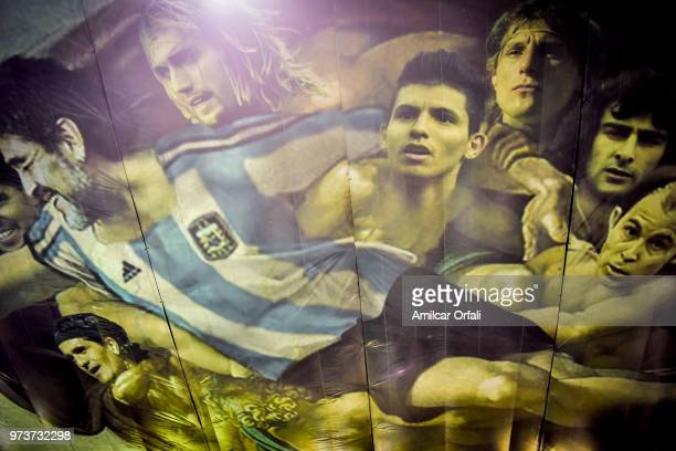 Detail of the mural in the ceiling of Sportivo Pereyra de Barracas club on June 13 2018 in Buenos Aires Argentina The mural was painted in the...