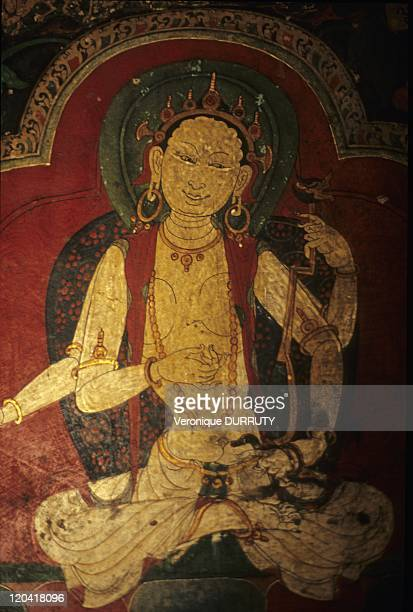 Detail of the murals of Pelkor Chode monastery Gyantse Tsang Tibet in China The Palcho Monastery or Pelkor Chode Monastery or Shekar Gyantse is the...