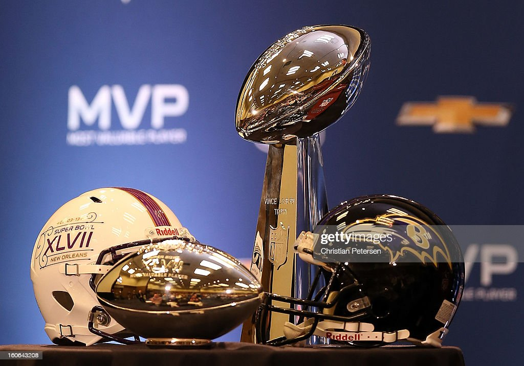 Detail of the MVP and Super Bowl trophies during the Super Bowl XLVII Team Winning Coach and MVP Press Conference at the Ernest N. Morial Convention Center on February 4, 2013 in New Orleans, Louisiana.
