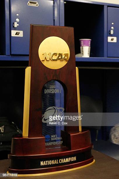 A detail of the national championship trophy as it sits in the Duke Blue Devils locker room after the Blue Devils won 6159 against the Butler...