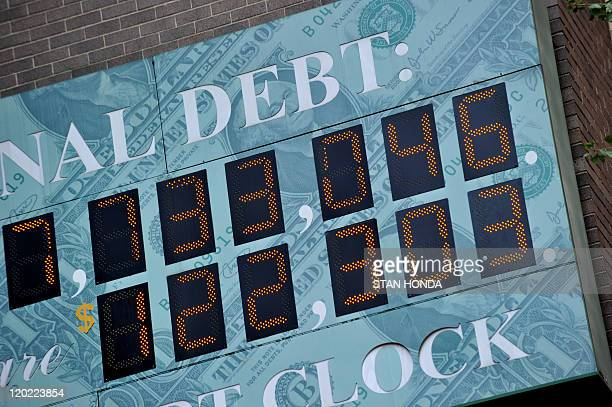 Detail of the National Debt Clock a billboardsize digital display showing the increasing US debt on Sixth Avenue August 1 2011 in New York US Vice...