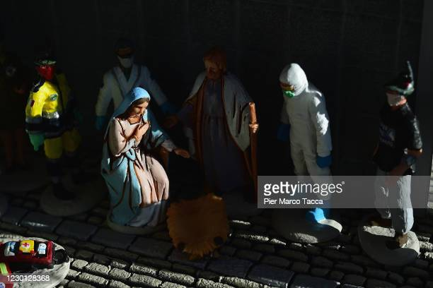 Detail of the nativity scene is displayed at Bar Alpino on December14, 2020 in Zambla Alta, Italy. Alessandro Brighenti typographer from Bergamo...