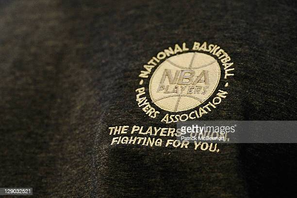 A detail of the NBA Players Association logo with the slogan ' THe Players' Union FIghting for You' is seen on Theo Ratliff of the Los Angeles Lakers...