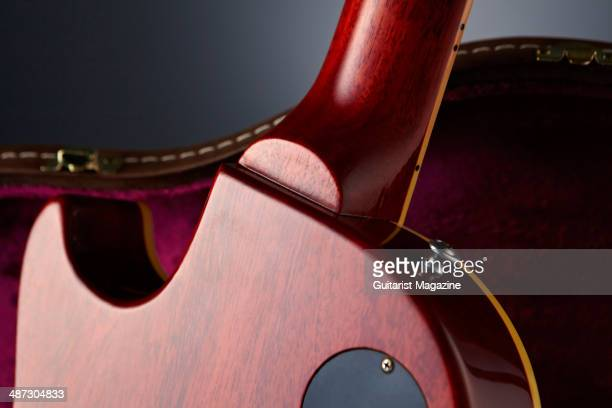 Detail of the neck heel of a 2013 Gibson Custom 1959 Les Paul Standard Reissue electric guitar taken on August 5 2013