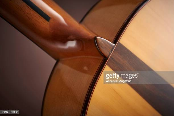 Detail of the neck heel on a Manuel Rodriguez Model FF flamenco classical guitar taken on February 3 2017