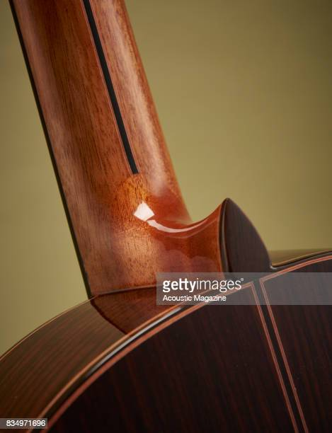 Detail of the neck heel on an Admira A25 classical guitar taken on December 14 2016