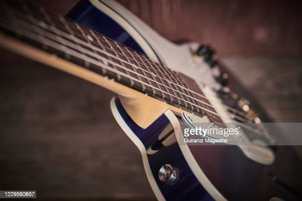 Detail of the neck joint on a Fret-King Black Label Country Squire Semitone Special electric guitar with a Blue Burst finish, taken on November 29,...