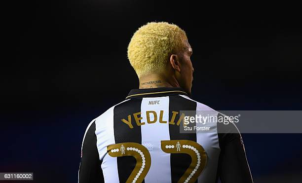 A detail of the neck tattoo of Newcastle player Deandre Yedlin during The Emirates FA Cup Third Round match between Birmingham City and Newcastle...
