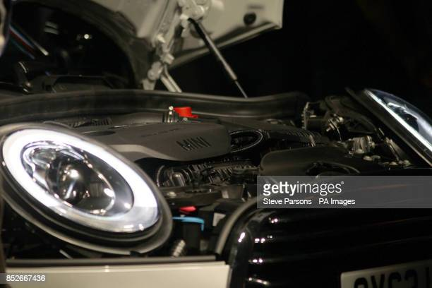 Detail of the new BMW Mini as it is unveiled at their plant in Oxford to coincide with the 107th anniversary of the birth of the car's designer Sir...
