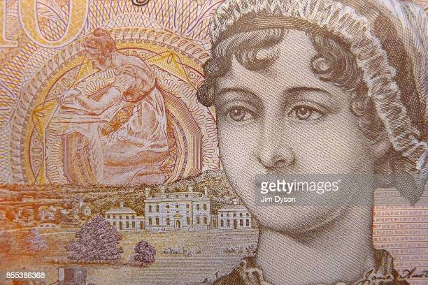 A detail of the new British ten pound note featuring a portrait of Jane Austen on September 27 2017 in London England A polymer £20 note featuring...