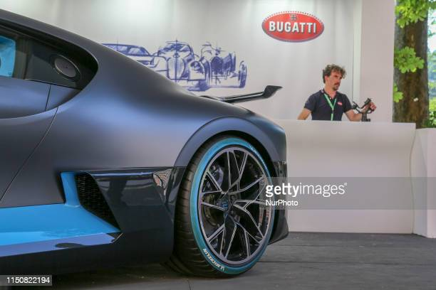 A detail of the new Bugatti Divo exhibited in the Bugatti stand during the fifth edition of Parco Valentino car show on June 19 2019 in Turin Italy...
