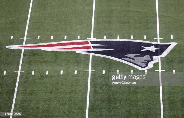 A detail of the New England Patriots logo on the field during the game between the New England Patriots and the Pittsburgh Steelers at Gillette...
