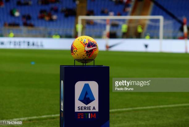 A detail of the new Serie A ball HI VIS before the Serie A match between AS Roma and SSC Napoli at Stadio Olimpico on November 2 2019 in Rome Italy