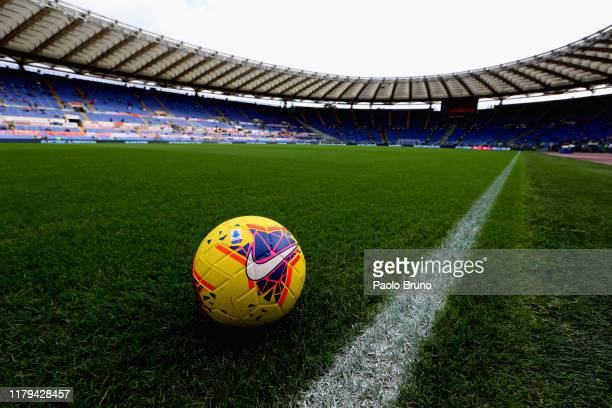 Detail of the new Serie A ball HI- VIS before the Serie A match between AS Roma and SSC Napoli at Stadio Olimpico on November 2, 2019 in Rome, Italy.