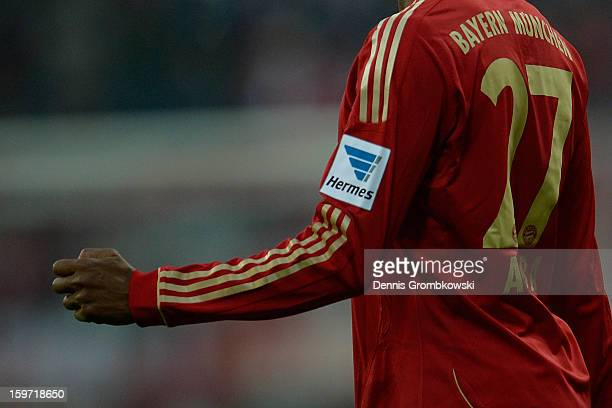 A detail of the new sponsor's patch of Hermes is seen during the Bundesliga match between FC Bayern Muenchen and SpVgg Greuther Fuerth at Allianz...