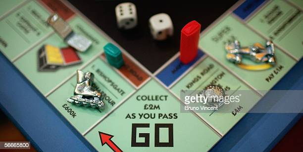 Detail of the new updated Monopoly board game is seen at the London Toy Fair on January 25, 2006 in London. The Toy Fair, held at the ExCeL centre,...