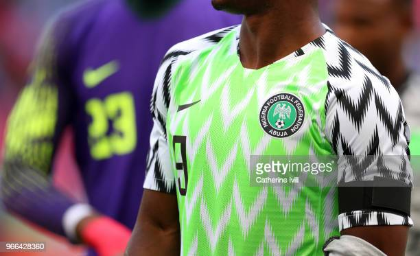 Detail of the Nigeria badge and shirt during the International Friendly match between England and Nigeria at Wembley Stadium on June 2 2018 in London...