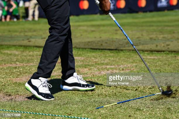 A detail of the Nike Air Jordan shoes of Harold Varner III on the range during the first round of the Arnold Palmer Invitational presented by...