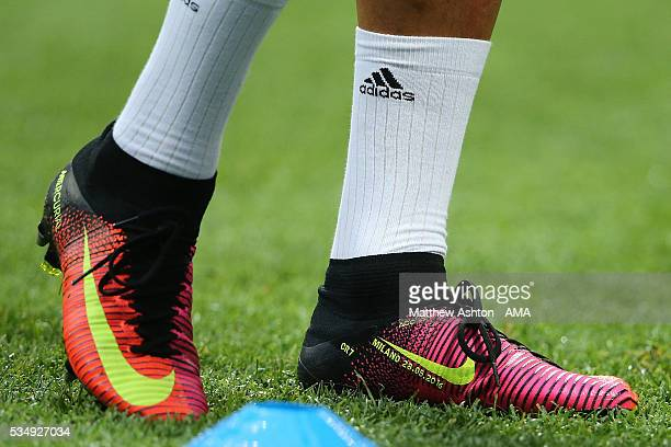 Detail of the Nike boots of Cristiano Ronaldo of Real Madrid prior to the UEFA Champions League final match between Real Madrid and Club Atletico de...