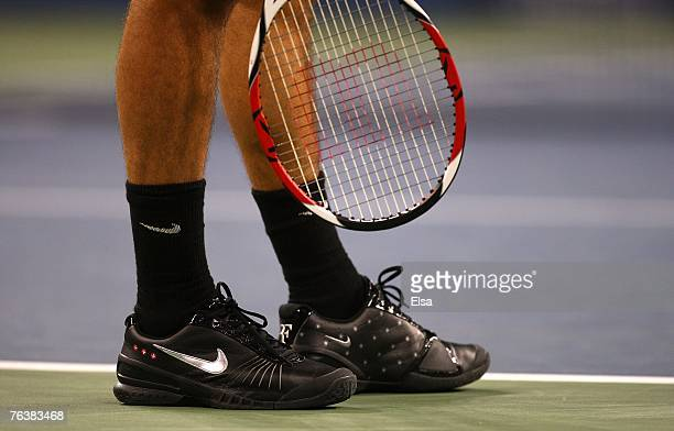 A detail of the Nike tennis shoes worn by Roger Federer of Switzerland against Paul Capdeville of Chile during day three of the 2007 US Open at the...