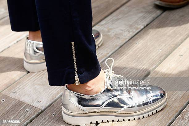 A detail of the Nolwenn Leroy shoes pictured during the French Tennis Open Day 6 at Roland Garros on May 27 2016 in Paris France