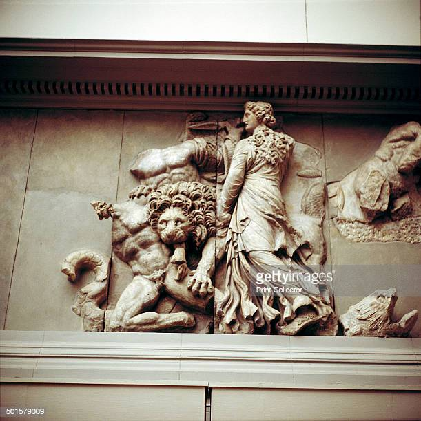 Detail of the North frieze of the Altar of Zeus from Pergamon c180c159 BC In the collection at the Pergamon Museum in Berlin