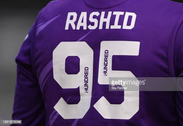 Detail of the number and name on the back of the shirt of Superchargers bowler Adil Rashid during The Hundred match between Northern Superchargers...