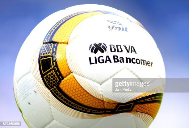 Detail of the official ball during the quarter finals second leg match between Monterrey and Atlas as part of the Torneo Apertura 2017 Liga MX at...