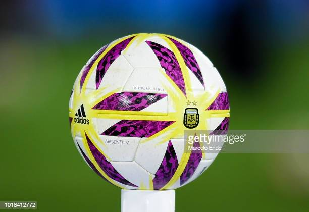 Detail of the official ball of Superliga Argentina 2018/19 prior a match between Huracan and River Plate as part of Superliga Argentina 2018/19 at...