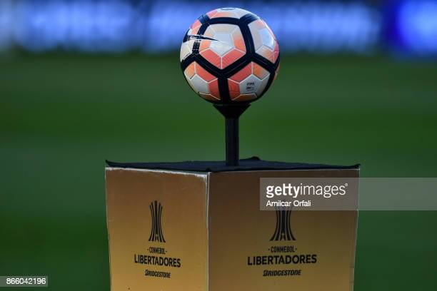 Detail of the official ball prior a first leg match between River Plate and Lanus as part of semifinals of Copa CONMEBOL Libertadores Bridgestone...