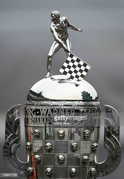 A detail of the Official Borg Warner Trophy during the trophy presentation for winning the IRL IndyCar Series 91st running of the Indianapolis 500 at...