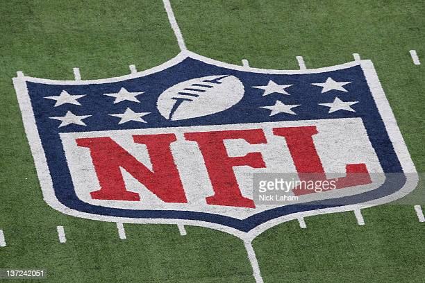 A detail of the official National Football League NFL logo is seen painted on the turf as the New York Giants host the Atlanta Falcons during their...