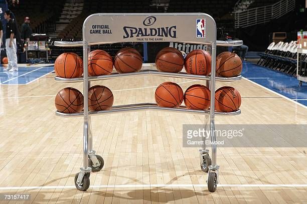 Detail of the official NBA leather basketball which replaced the previous microfibre synthetic ball a week ago prior to the NBA game between the...