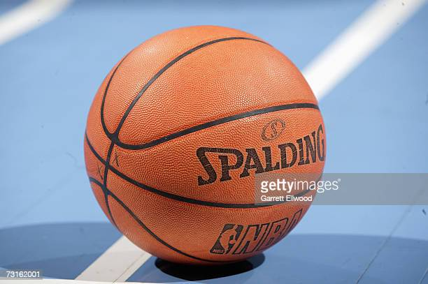 Detail of the official NBA leather basketball which replaced the previous microfibre synthetic ball on new year's day during the NBA game between the...