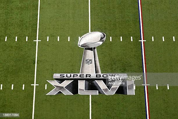 A detail of the official Super Bowl XLVI logo painted on the field during Super Bowl XLVI between the New York Giants and the New England Patriots at...
