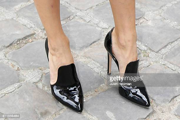 A detail of the Olivia Palermo shoes pictured before the Christian Dior show as part of the Paris Fashion Week Womenswear Spring/Summer 2017 on...