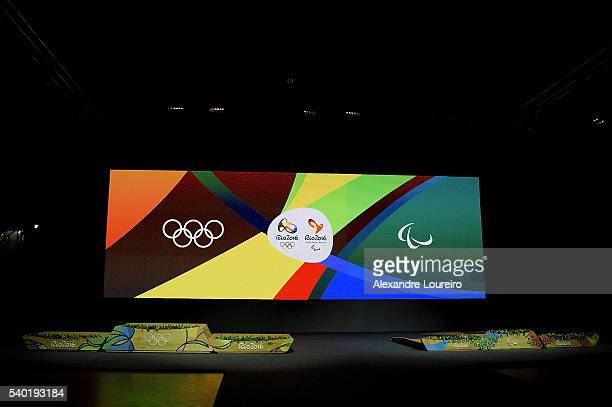 Detail of the Olympic and Paralympic podium during the Launch of Medals and Victory Ceremonies for the Rio 2016 Olympic and Paralympic Games at the...