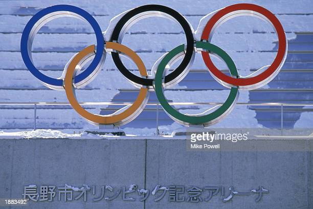 Detail of the Olympic Rings outside the Speed Skating venue during the 1998 Winter Olympic Games on February 24, 1998 in Nagano, Japan.