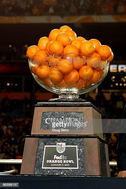 Detail of the Orange Bowl trophy which was won by the Iowa Hawkeyes after their 24-14 win against the Georgia Tech Yellow Jackets during the FedEx...