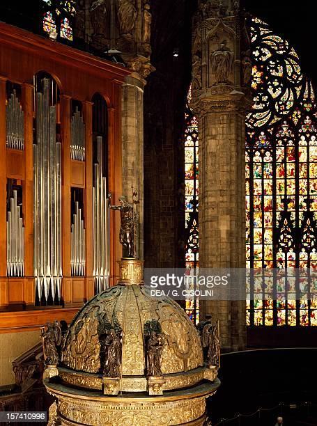 Detail of the organ in the presbytery in the foreground the ciborium Milan Cathedral Italy 16th century