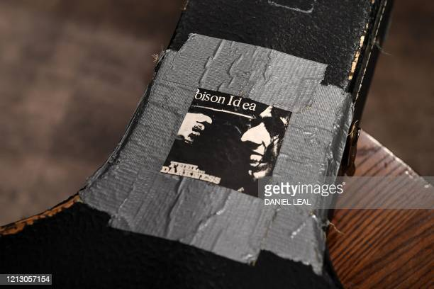 A detail of the original hardshell case of the guitar used by musician Kurt Cobain during Nirvana's famous MTV Unplugged in New York concert in 1993...
