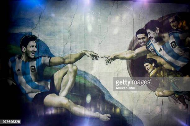 Detail of the painting on the ceiling of Sportivo Pereyra de Barracas Club on June 13 2018 in Buenos Aires Argentina The mural was painted in the...