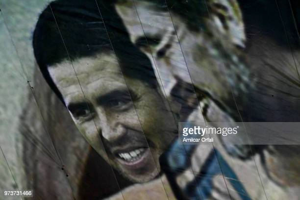 Detail of the painting on the ceiling of Sportivo Pereyra de Barracas Club where Diego Maradona is portrayed as Christ on June 13 2018 in Buenos...